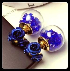 🦋Blue Crystal & Flower Double-Side Earrings🦋